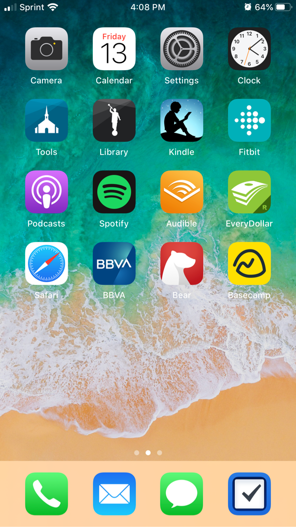iPhone home screen with four rows of apps